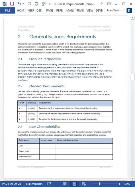 software business requirements document template business requirements specification template 24 page ms