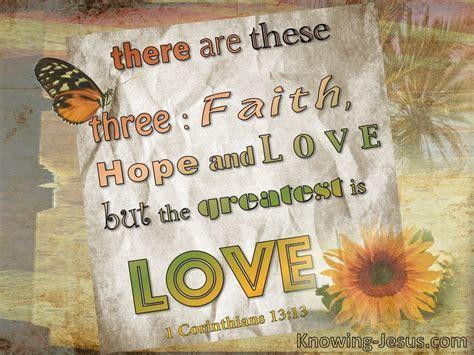 1 Corinthians 13:13 Three Things, Faith Hope And Love (beige)