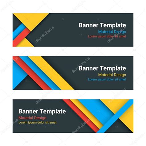 material design header size material design banners set of modern colorful horizontal
