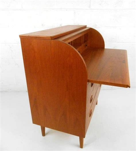 mid century modern teak roll top cylinder desk at