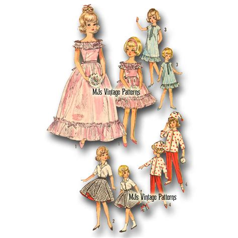 clothes pattern for dolls vtg 60s doll dress clothes pattern 12 quot tammy 9 quot pepper