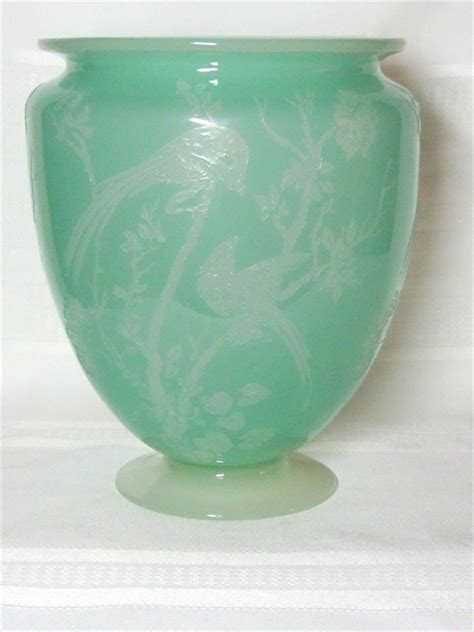 Steuben Vase Value by Steuben Birds Of Paradise Acid Cut Back Vase Light Jade
