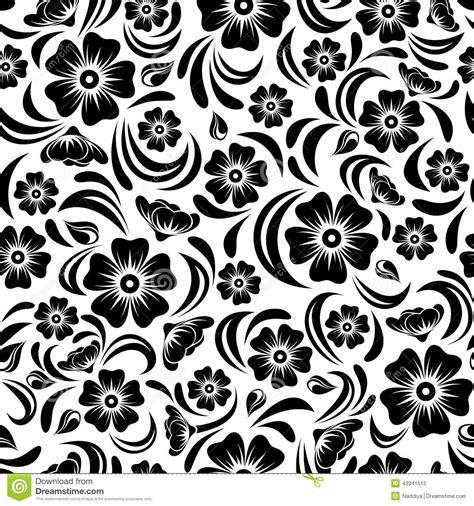 Seamless Vintage Black Floral Pattern Vector Illustration
