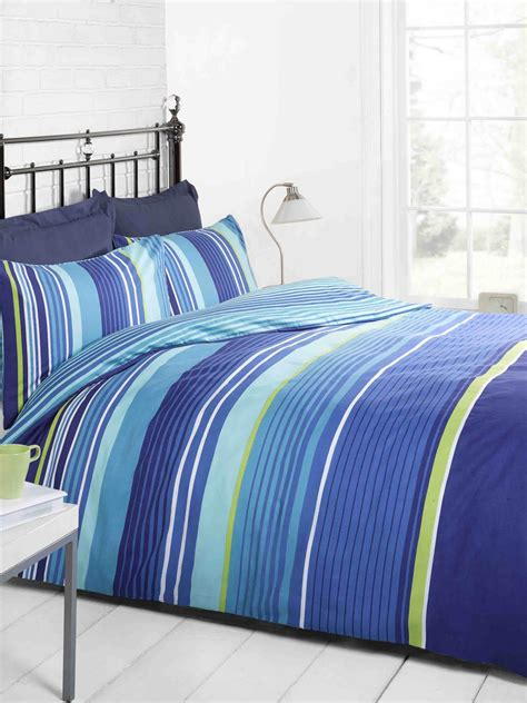 Blue Bed Covers Cambridge Stripe Printed Duvet Set Blue Free Uk Delivery