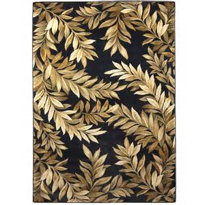 Black Floral Area Rug Shop Allen Roth Breezy Rectangular Black Floral Woven Area Rug Common 5 Ft X 8 Ft Actual 5