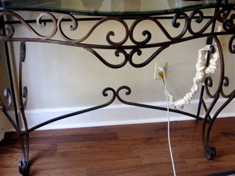 wrought iron sofa table wrought iron sofa table w glass top