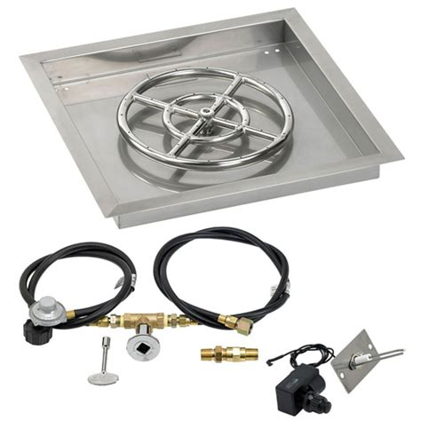 gas pit kit 18 quot square drop in pan with spark ignition kit 12 quot pit ring propane backyard