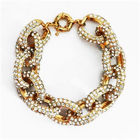 pave link bracelet gold chunky chain bracelet with clear