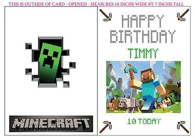 Minecraft Birthday Card Template by Minecraft Creeper Personalized Birthday Card Mine Craft