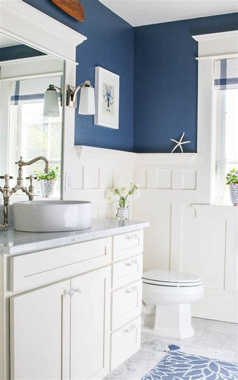 blue and white bathroom ideas navy blue and white bathroom saw nail and paint