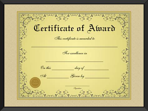 formal award certificate template free golden formal award certificate template