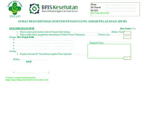 surat rekomendasi dpjp bpjs