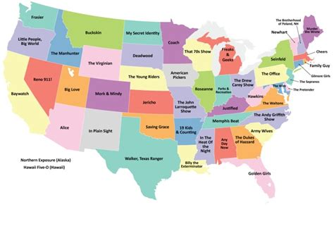map of us showing states us map showing the tv series best representing each state