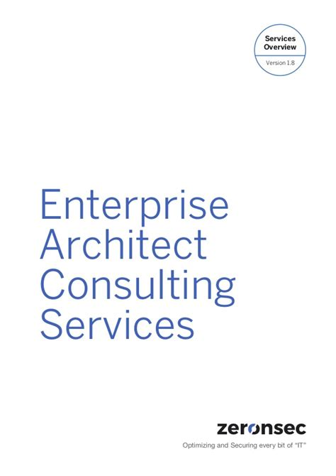 Cv Enterprise Consulting Service Enterprise Architect Consulting Services Brochure