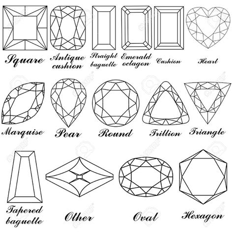 printable jewel shapes faceted jewel line drawing google search emily