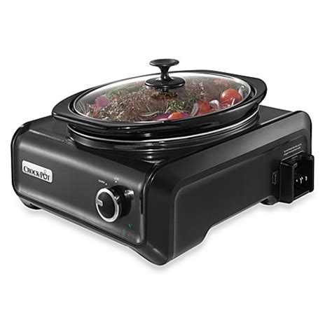 bed bath and beyond crock pot buy crock pot 174 3 5 quart oval hook up connectable entertaining system in charcoal