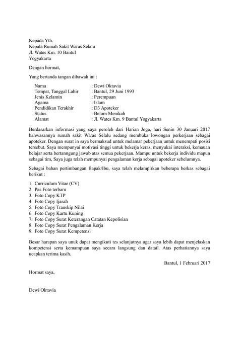 Contoh Surat Lamaran Kerja Di Klinik Kesehatan - Berbagi