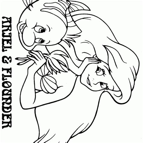 Ariel Coloring Pages Printable by Ariel And Flounder Coloring Page Az Coloring Pages