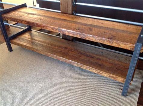 reclaimed wood metal bench  shelf  scott