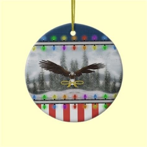 usa patriotic eagle round christmas ornament