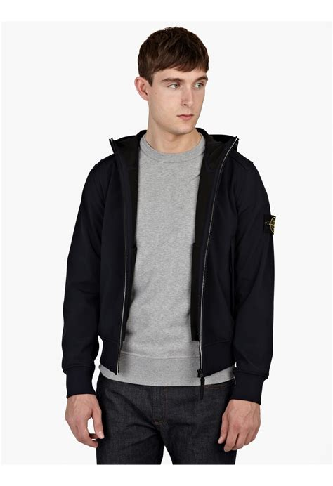 Gazr R Bomber Black Jacket For island navy soft shell r hooded bomber jacket in black for lyst