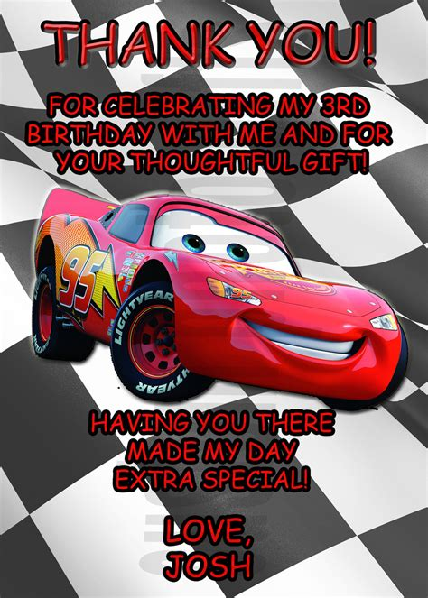 lightning mcqueen thank you cards printable personalized cars lightning mcqueen thank you card digital