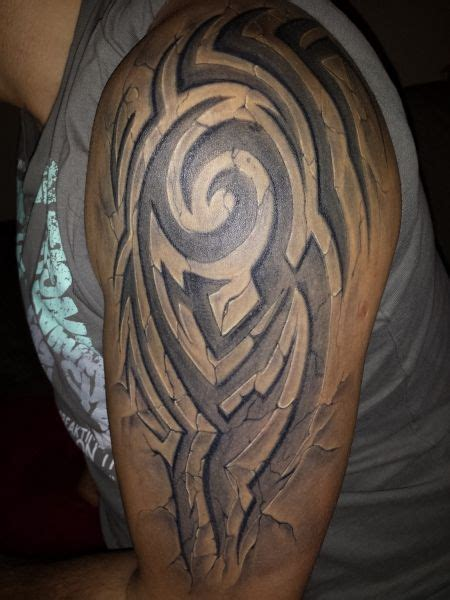 tribal 3d tattoo 3d effect stonework tattoos 3d and
