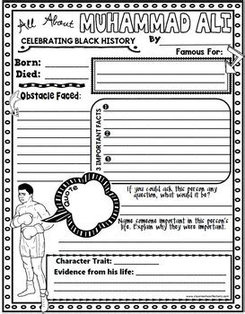 muhammad ali biography worksheet black history month biography research project by
