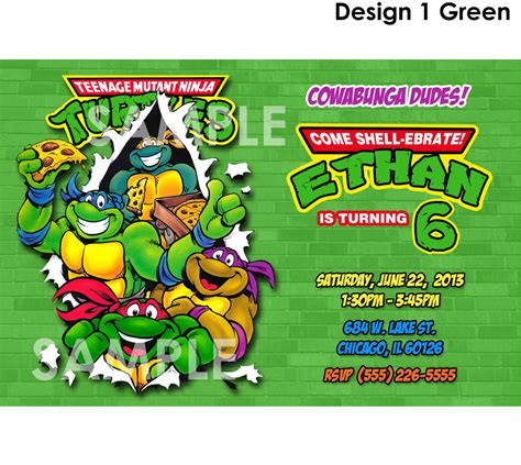 mutant turtles invitations template best template collection