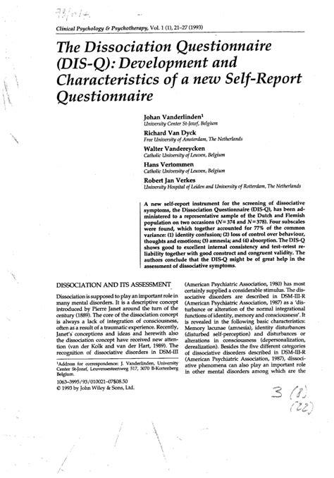 (PDF) The dissociation questionnaire (DIS-Q): Development