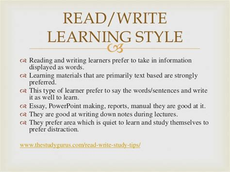 Read Write Learning Style Essay by Different Learning Styles 1