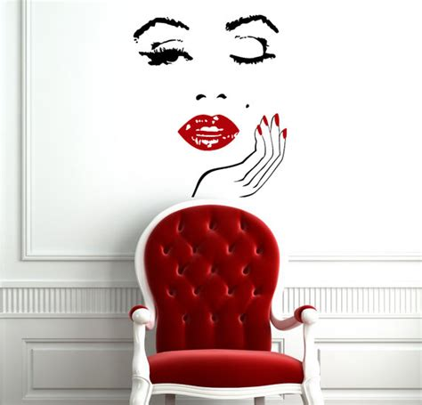 Cosmetology Decorations by Wall Decals Face With Hand Decal Manicure Nail Lips Vinyl