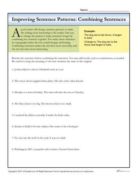 sentence patterns review worksheet sentence patterns 7th grade 7th grade outline syllabus