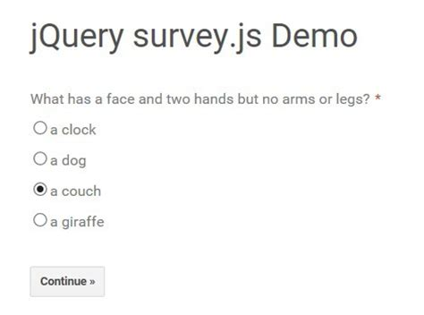 javascript quiz template create a simple survey using jquery and json survey js