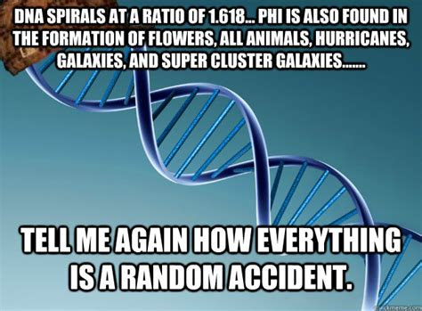 Dna Meme - dna spirals at a ratio of 1 618 phi is also found in