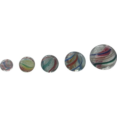 German Handmade Marbles - five german latticinio and solid swirls marbles