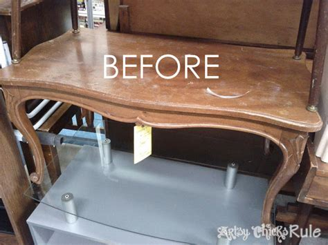 thrift store coffee table transformed with chalk paint polyshades artsy rule 174