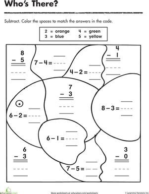 subtraction coloring pages for kindergarten subtraction color by number color the fish color by