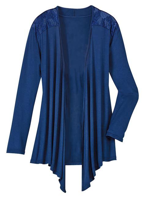 knit sleep jacket with lace amerimark online catalog - Sleep Jacket