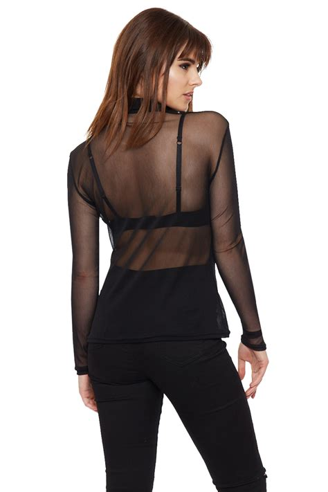 See Through Mesh Sleeve Top womens high turtle polo neck sheer mesh sleeve