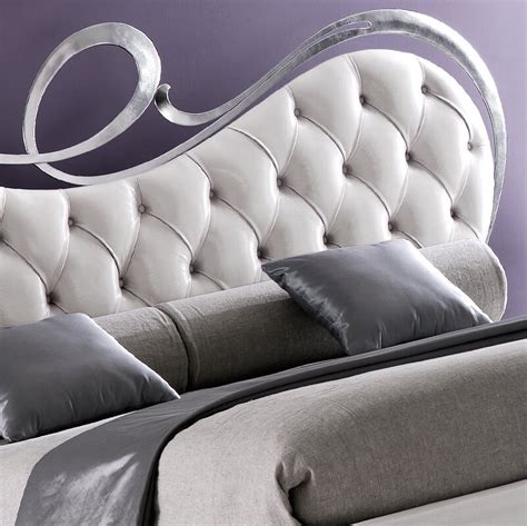 White Leather Upholstered Headboard by Italian Leather Button Upholstered Swirl Headboard