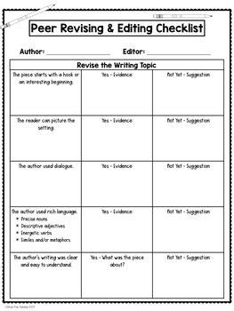 Peer Editing Checklist by Stress-Free Teaching | TpT