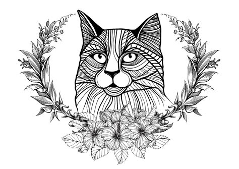 coloring pages of cats cat and laurel wreath cats coloring pages
