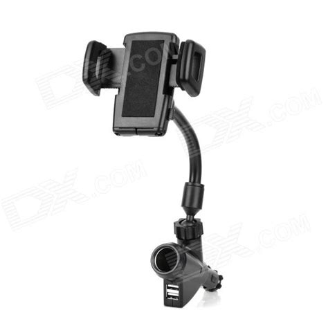 Holder Motor Charger Usb Qs 121 car mount 360 degrees rotation holder w dual usb car charger for iphone ipod black