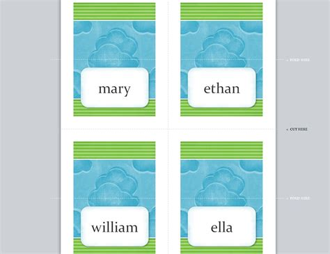 place card template 12x12 place card template place cards template