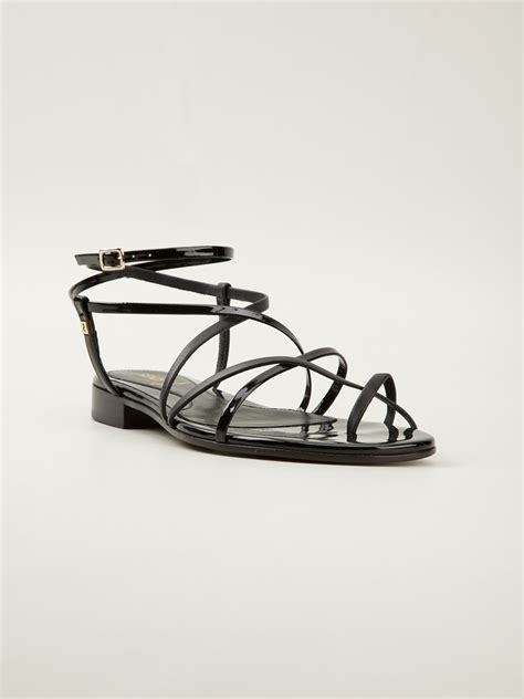 black flat strappy shoes fendi strappy flat sandals in black lyst
