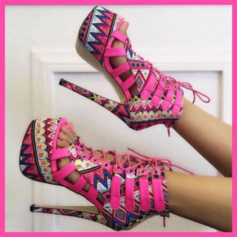 pattern colorful heels shoes heels colorful pink barbie cute girly pretty