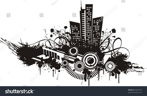 urban design flower black white urban design floral grunge stock vector