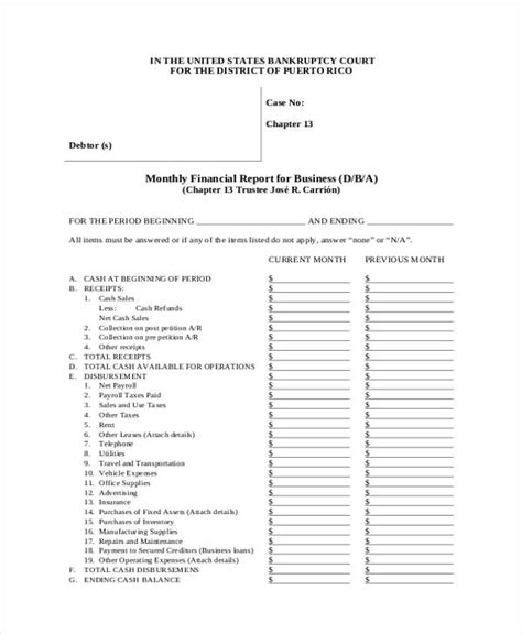 monthly financial report template 28 monthly financial report template monthly financial statement template sle