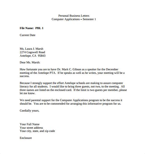 Business Letter Template Sample Personal Business Letter 9 Download Free Documents In